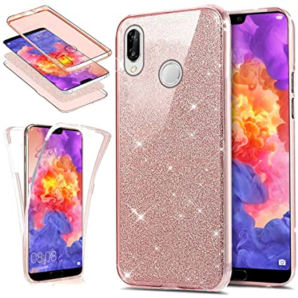 newest 8d4c5 3b1c2 Huawei P20 Lite Case,ikasus [Full-Body 360 Coverage Protective] Crystal  Clear 2in1 Sparkly Shiny Bling Glitter Front Back Full Coverage Soft TPU ...