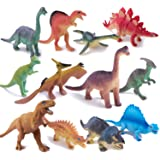 """Peruser Dinosaurs Toys 12-Pack 5"""" to 7"""" Realistic Dinosaur Figures with Dinosaur Book, Kids and Toddlers - Great Gift Set, Bi"""