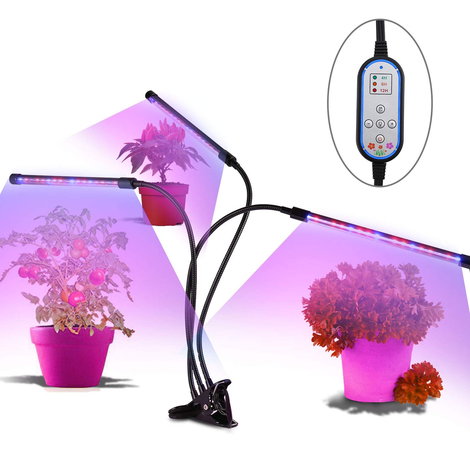 [2018 Upgraded]Cycle Timing Grow Light,OUTAD Auto On/Off Everyday with 3-Head Timing Lamp 36W Plant Grow Lamp with Three on/Off Switch, 4/8/12H Timer,8 Dimmable Levels