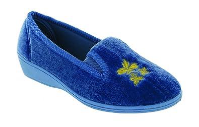 Mirak Slip-On Textile Lined Ladies Slippers - Navy - Size 12 ULfOH