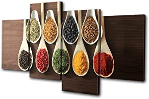 Bold Bloc Design - Food Kitchen Spices Indian - 240x135cm Canvas Art Print Box Framed Picture Wall Hanging - Hand Made In The UK - Framed And Ready To Hang