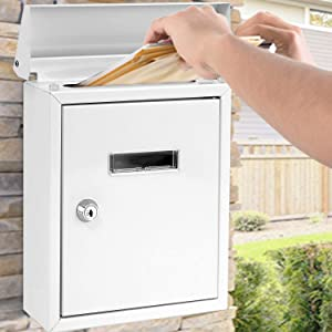 SereneLife SLMAB01.5 Weatherproof Wall Mount Mailbox-Outdoor Galvanized Metal Key Large Capacity, Commercial Rural Home Decorative & Office Business Parcel Box Package Drop Slot Secure Lock, White