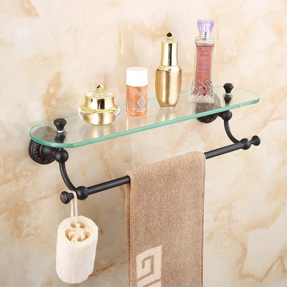 Ruddock HBX19 Carved Antique Brass Cosmetic Holder Oil Rubbed Bronze Glass Shelf Luxury Bathroom Rack Accessories