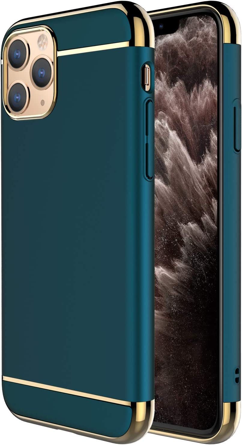 iPhone 11 Pro Case,RORSOU 3 in 1 Ultra Thin and Slim Hard Case Coated Non Slip Matte Surface with Electroplate Frame for Apple iPhone 11 Pro (5.8