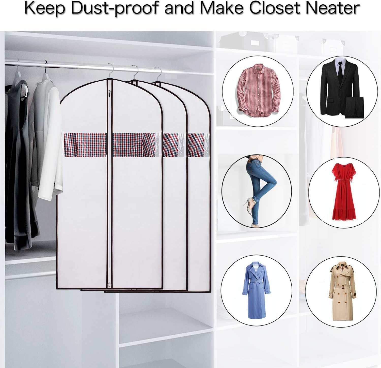 KEEGH Garment Covers Clothes Protector Bag for Storage and Travel 54inch Moth Proof Waterproof Dustproof Anti-mite Breathable for Dress Costumes Suits Gowns Coats