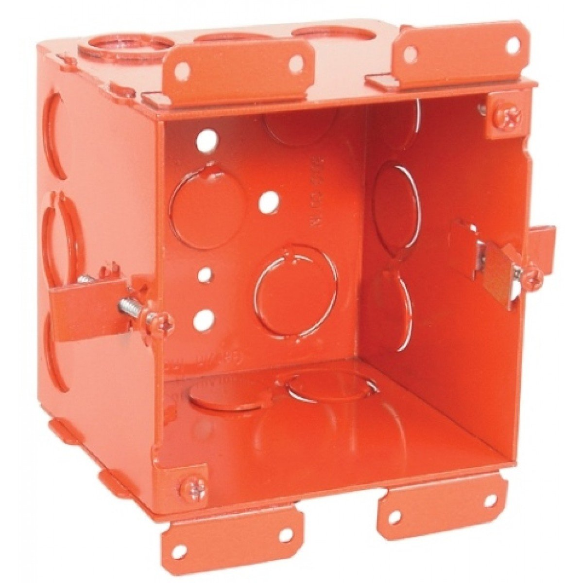 1 Pc, 4'' Square Cut In Old Work Junction Box, Red, 2-1/8 In. Deep, (6) 1/2 In. & (6) 1/2-3/4 In. Side Knockouts; (2) 1/2 In. & (2) 3/4 In. Bottom Knockouts, .0625 Galvanized Steel; Red