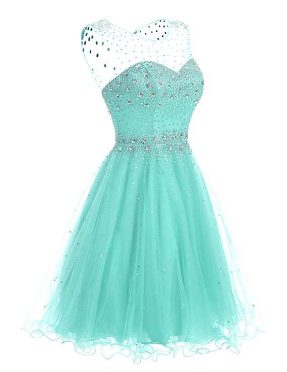 Clearbridal A Line Mint Homecoming Dresses 2019 Short for Juniors Prom Dresses Ball Gown with Beads