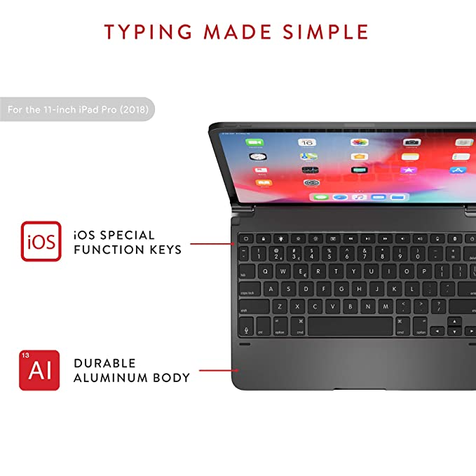 Brydge Pro 11 0 Keyboard for 11 0-inch iPad Pro 3rd Generation 2018 Model |  Aluminum Wireless Bluetooth Keyboard with Backlit Keys | Long Battery Life