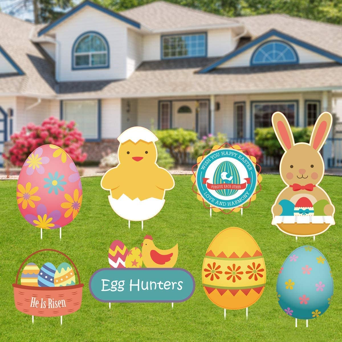 Kyerivs Easter Yard Signs Decorations Outdoor Easter Egg Bunny Chick Yard  Sign Stakes Lawn Yard Decorations Easter Party Decor for Easter Hunt Game
