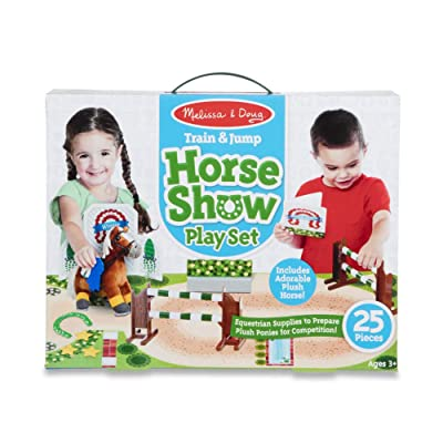 Melissa & Doug Train & Jump Horse Show Play Set with Plush Stuffed Animal (25 Pieces): Toys & Games