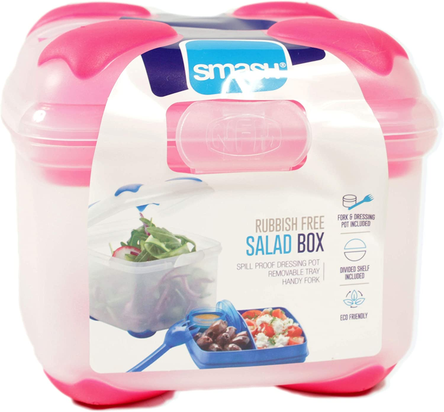 Nude Food Movers by Smash Food Container SALAD BOX, One, Blue | pink | green | black