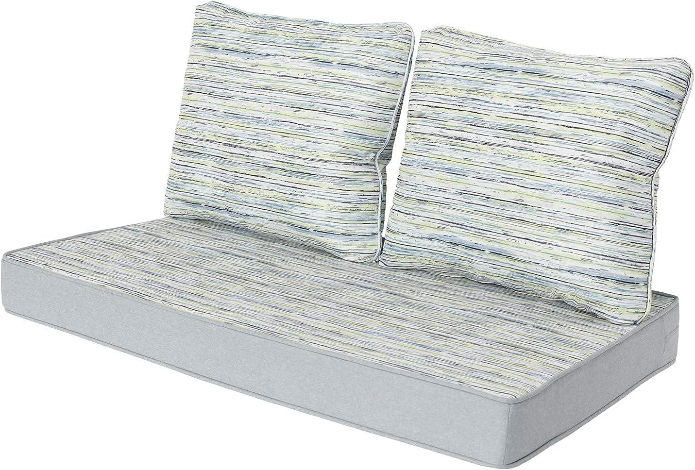 WOTU Loveseat Cushion, Indoor Outdoor Seating Cushions Patio Furniture Cushions Comofort Deep Seat