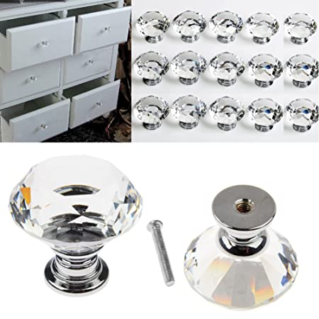 16pcs Crystal Glass Door Knobs Clear Diamond Pull Handle with Screw ...