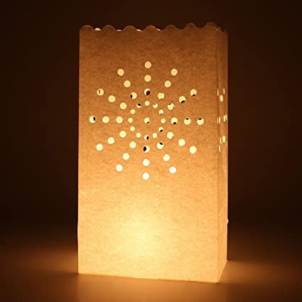 20 x Papel té luz vela linterna bolsas boda barbacoa de jardín Navidad decoración – patrón