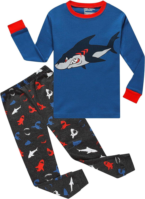 Boys Girls Christmas Striped Reindeer 2 Piece Kids Pajamas Toddler Sleepwear 100% Cotton
