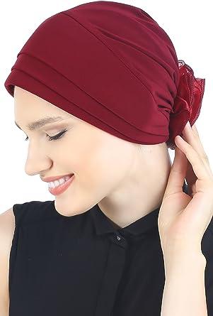 Alopécie chimio Coiffure pour perte de cheveux en maille élégante Froncé Doublé Chapeau Cancer
