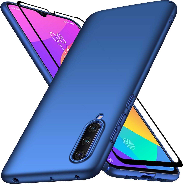 UCMDA Funda para Xiaomi Mi 9 Lite con Protector de Pantalla, Funda Duro PC Delgada Minimalista Protector Carcasa para Xiaomi Mi 9 Lite con Cristal Templado (Azul): Amazon.es: Electrónica