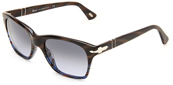 17c6ec905ea3e Persol Women s 3027 Dark Horn Brown   Blue Striped Frame Sky Gradient Lens  Plastic Sunglasses