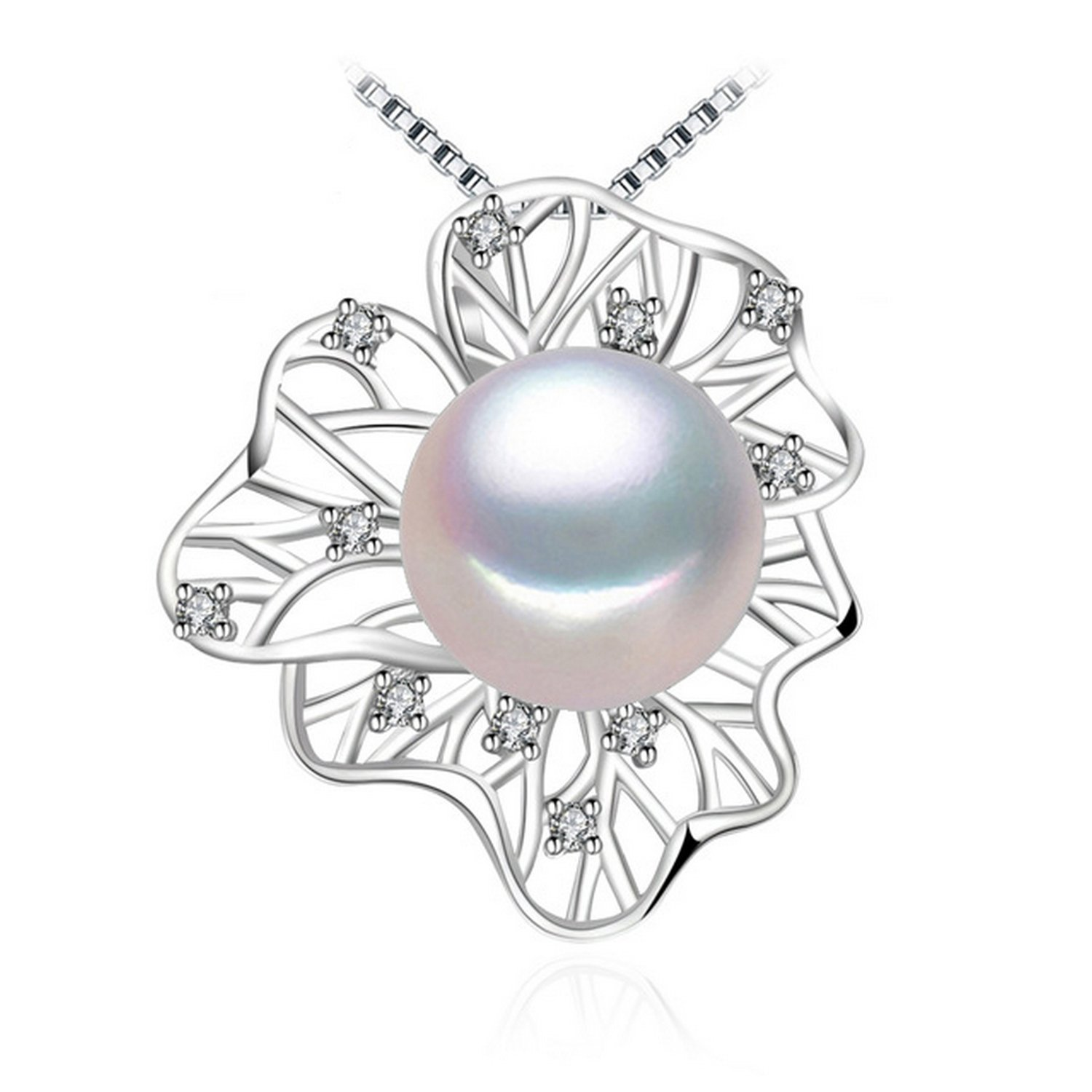 CS-DB Jewelry Silver Pearl Genuine Big Size Chain Charm Pendants Necklaces