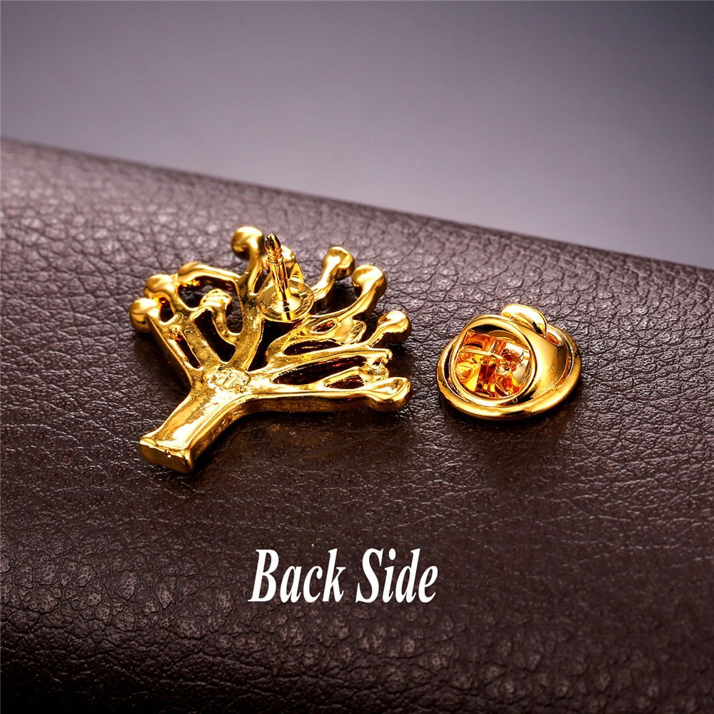 U7 Lucky Evil Eye Tree of Life Brooch 18K Gold Plated Tie Hat Bag Brooches Lapel Pin Women Men by U7 (Image #7)