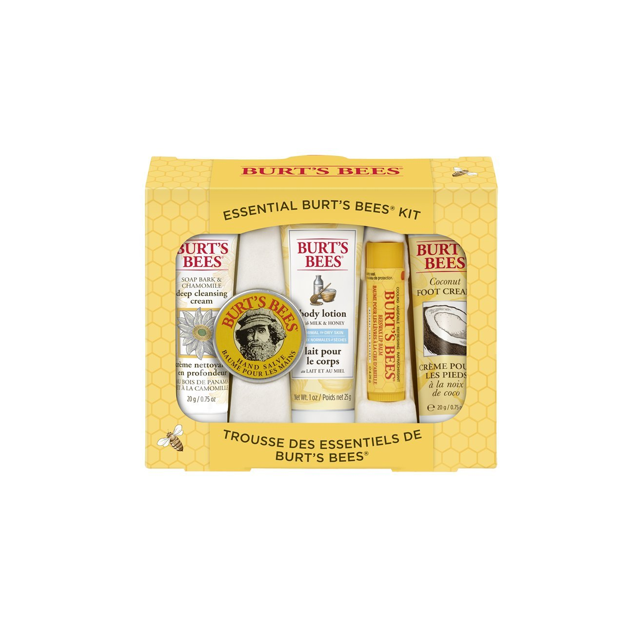 Burt's Bees Essential Everyday Beauty Gift Set, 5 Travel Size Products - Deep Cleansing Cream, Hand Salve, Body Lotion, Foot Cream and Lip Balm Burt' s Bees 00916-24