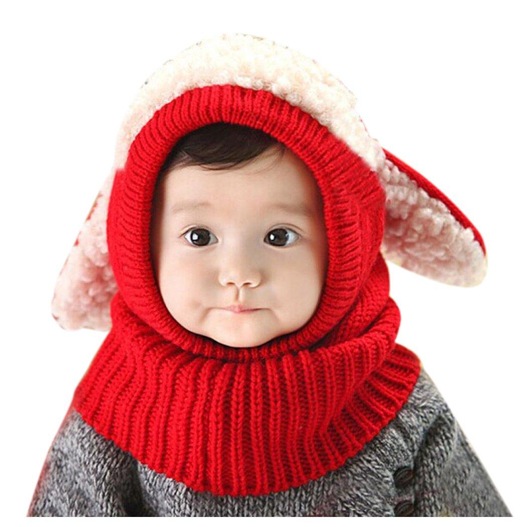 Inkach Baby Girls Boys Winter Hat Scarf Kids Earflap Hood Scarves Crochet Knitted Skull Caps (Blue)