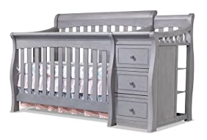 Sorelle Tuscany Crib and Changer Grey, Three beds, Weathered Gray