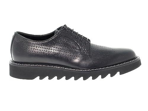 CESARE PACIOTTI Zapatos zapatillas de hombre talla 6 tela y cuero en negro