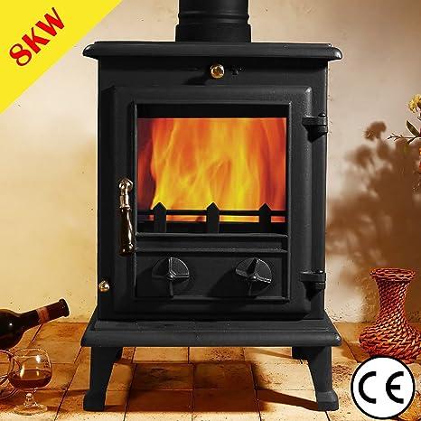 Astove 6,5 kW estufa de leña registro de hierro fundido quemador de madera alta