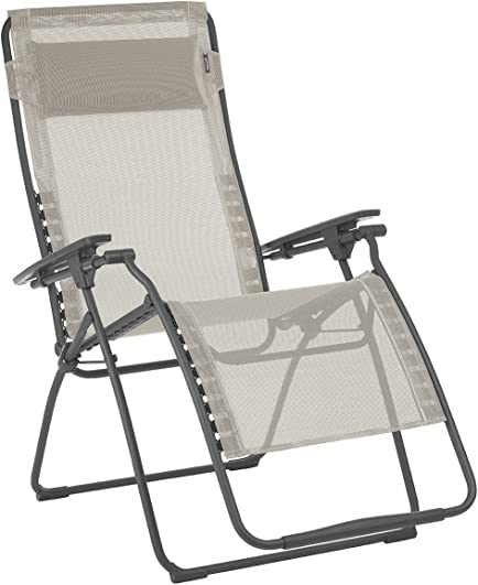 Lafuma Futura XL Zero Gravity Patio Recliner Seigle Grey Batyline Canvas Extra Large Outdoor Folding Lounge Chair