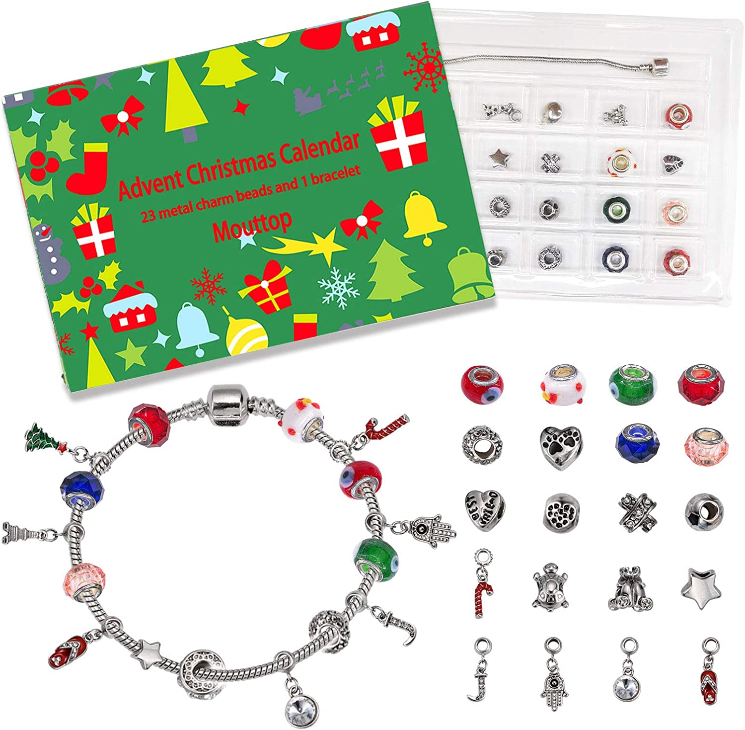 Christmas Bracelet Pendant Ornaments Countdown Advent Calendar Jewelry Findings