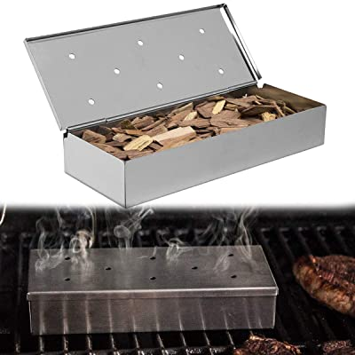 2pk Stainless Steel Woodchip Smoker Boxes Propane Gas Charcoal Grill : Garden & Outdoor
