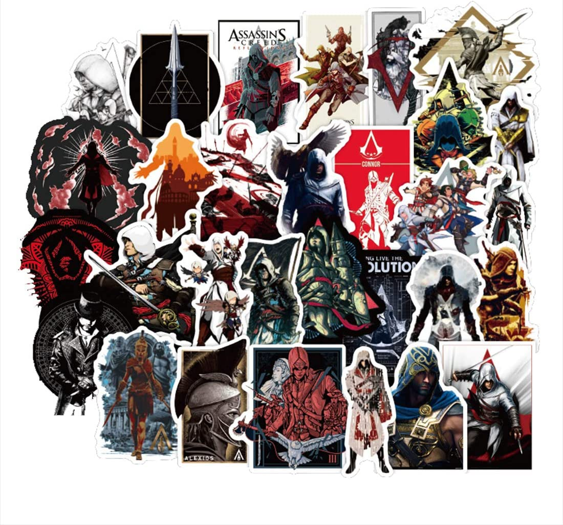 ARPA 50Pcs Assassin's Creed Stickers for Laptops Books Cars Motorcycles Skateboards Bicycles Suitcases Skis Luggage Cup Hydro Flasks etc DJKT