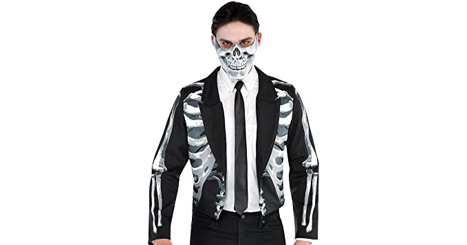 bee81fbb58f Amazon.com: Amscan Black and Bone Halloween Jacket for Men, One Size ...