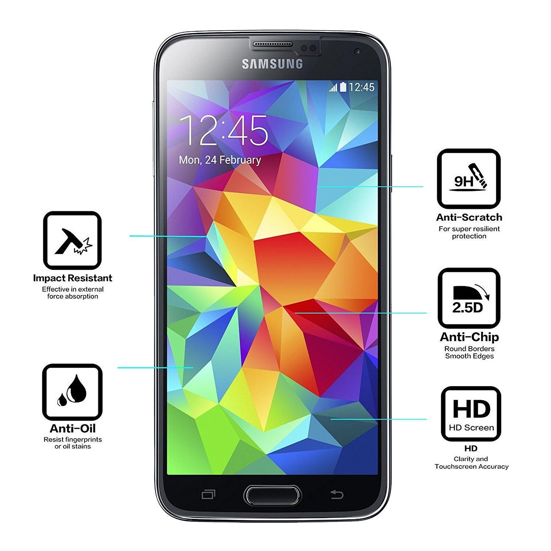 NearPow [3 Unidades] Samsung Galaxy S5 Protector de Pantalla, Cristal Templado Protector de Pantalla para Samsung Galaxy S5, Vidrio Templado con [9H Dureza] ...