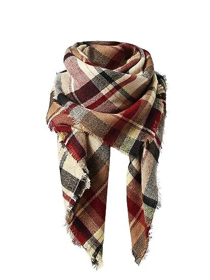 a1868d10fa70a American Trends Women's Fall Winter Scarf, Classic Tassel Plaid, Warm Soft  Chunky Blanket Wrap