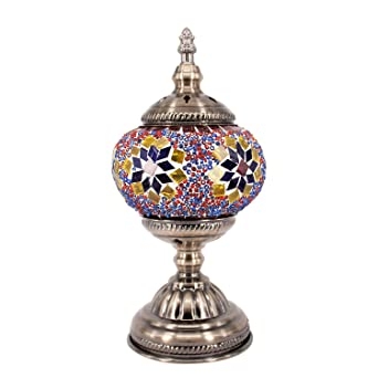 Kindgoo Turkish Mosaic Lamp Decorative Handmade Unique Glass Bedside