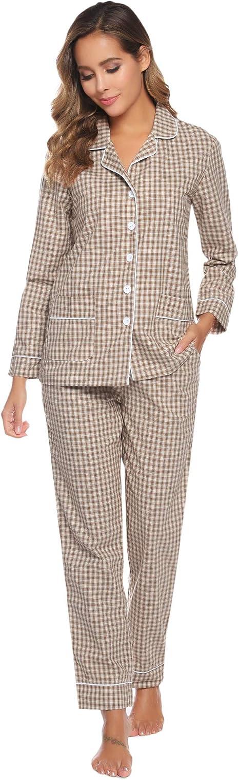 Hawiton Pijamas Mujer Invierno de Algodón a Cuadros Conjunto de Pijama para Mujer Manga Larga Pantalones Largo Ropa de Casa Dos Piezas: Amazon.es: Ropa y accesorios