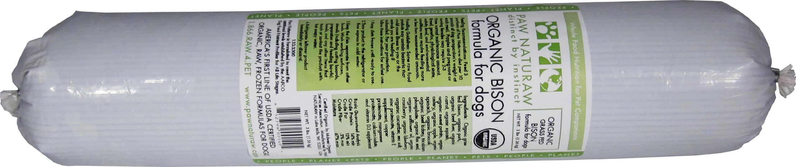 Paw Naturaw Diet Grass Fed Organic Bison Rolls (Pack of 14)