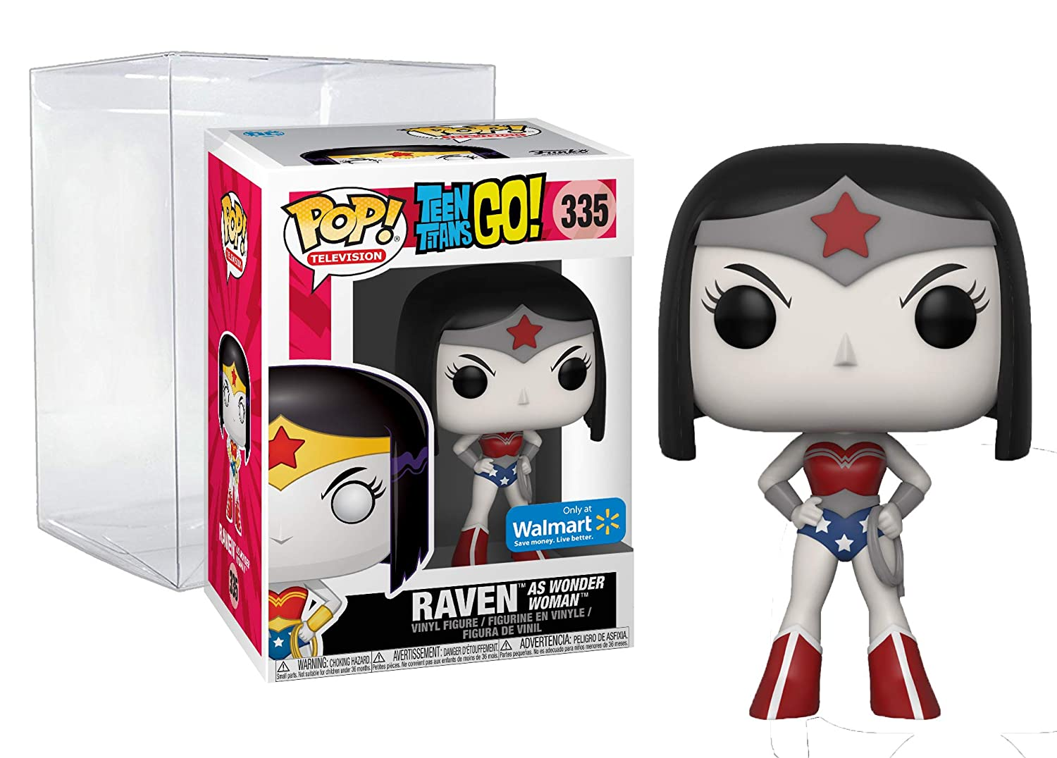 Bundle: Teen Titans Go Funko Pop #335, Walmart Exclusive with Protector FunkoLLC Raven as Wonder Woman