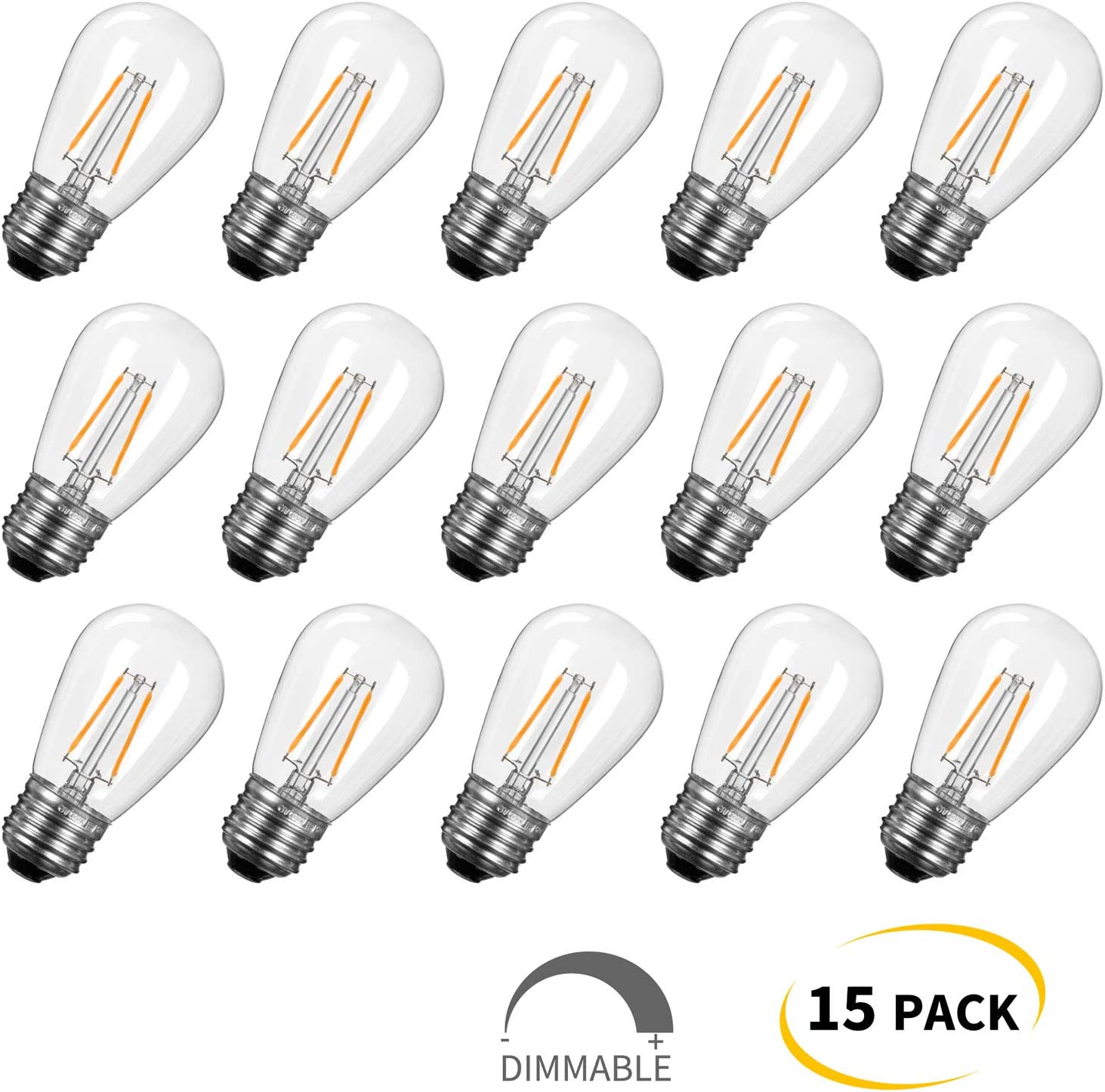 15-Pack Shatterproof LED S14 Replacement Light Bulbs-E26 E27 Medium Candelabra Screw Base Edison Bulbs Equivalent to 11 W, Fits for Commercial Outdoor Patio Garden Vintage Lights, Warm White