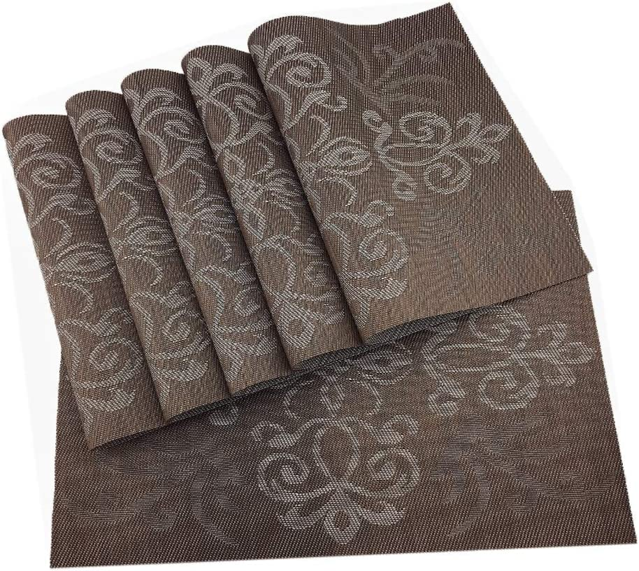Gugrida Luxury Coffee Placemats Set of 6 Crossweave Woven Vinyl Placemat for Dining Table Heat Resistant Non-Slip Kitchen Table Mats Easy to Clean