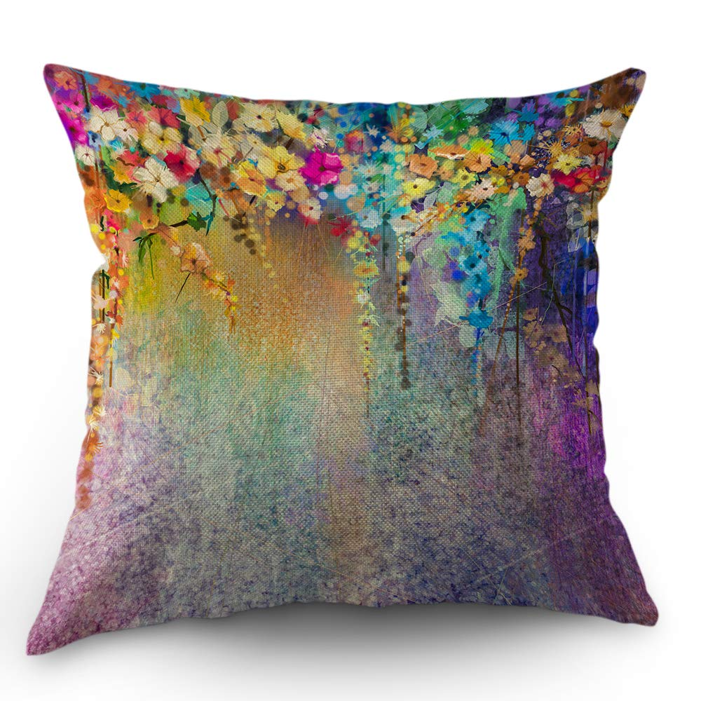 Moslion Floral Pillows Flower Decorative Throw Pillow Cover Watercolor Painting Flowers Pillow Case 18x18 Inch Cotton Linen Square Cushion Cover for ...