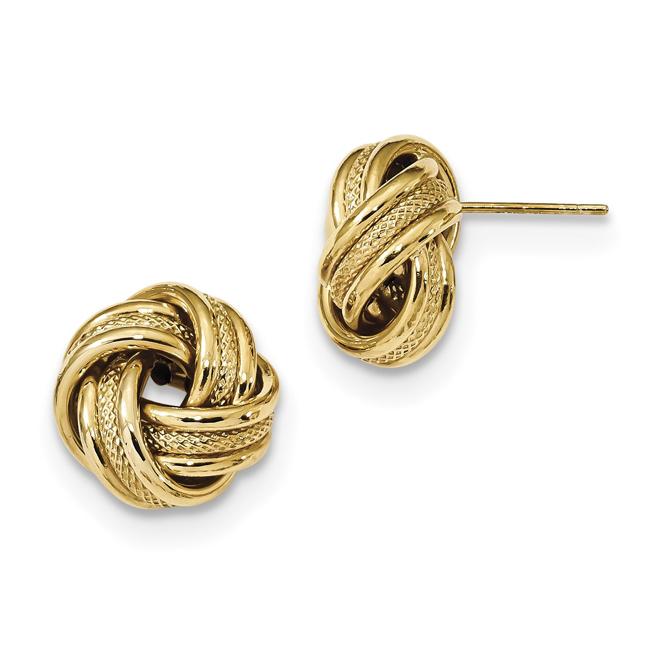 ICE CARATS 14k Yellow Gold Textured Triple Love Knot Post Stud Ball Button Earrings Fine Jewelry Gift For Women Heart