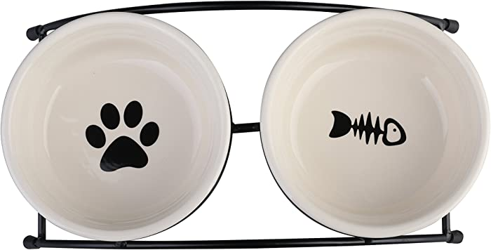 MushroomCat Pet Personalized Cute Feeder Double Ceramic Cat Dog Bowl Dishes Elevated Food and Water Bowls with Metal Raised Antiskid Stand