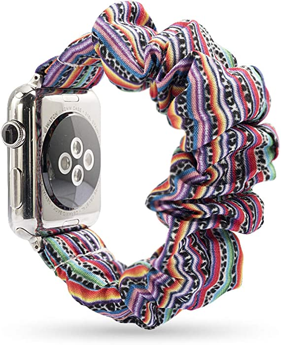 YOSWAN Scrunchie Elastic Watch Band Compatible for Apple Watch Band 38mm 42mm Women Girls Cloth Hair Rubber Band Strap Bracelet for iwatch SE Series 6 5 4 3 2 1 (Colorful Stripe, 38mm/40mm)