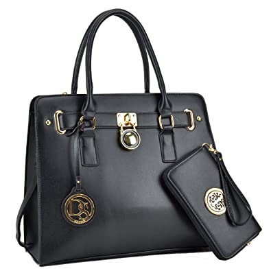 f687b0c3e00b Amazon.com  Pretty Padlock Satchel w wallet Designer Shoulder Handbag Top  handle Purse Bag for woman  Shoes