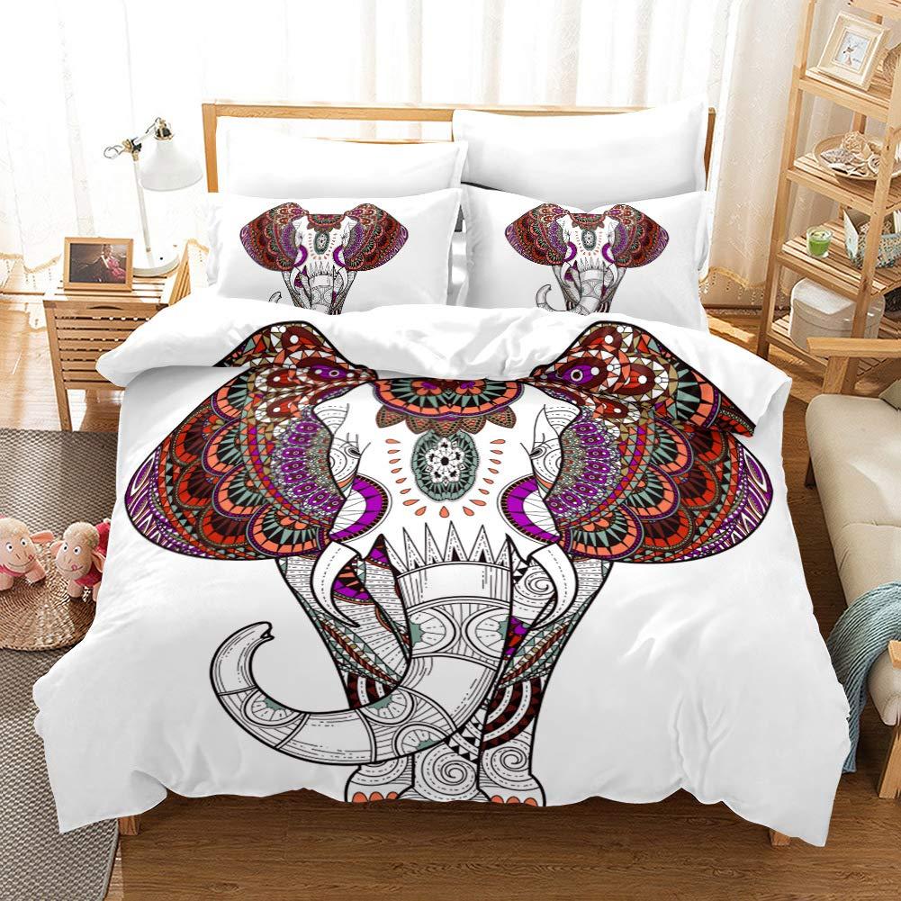 ViewHuge 3 Piece Bohemian Duvet Cover Set,Elephant Exotic Boho Mandala Bedding Quilt Cover Sets by ViewHuge