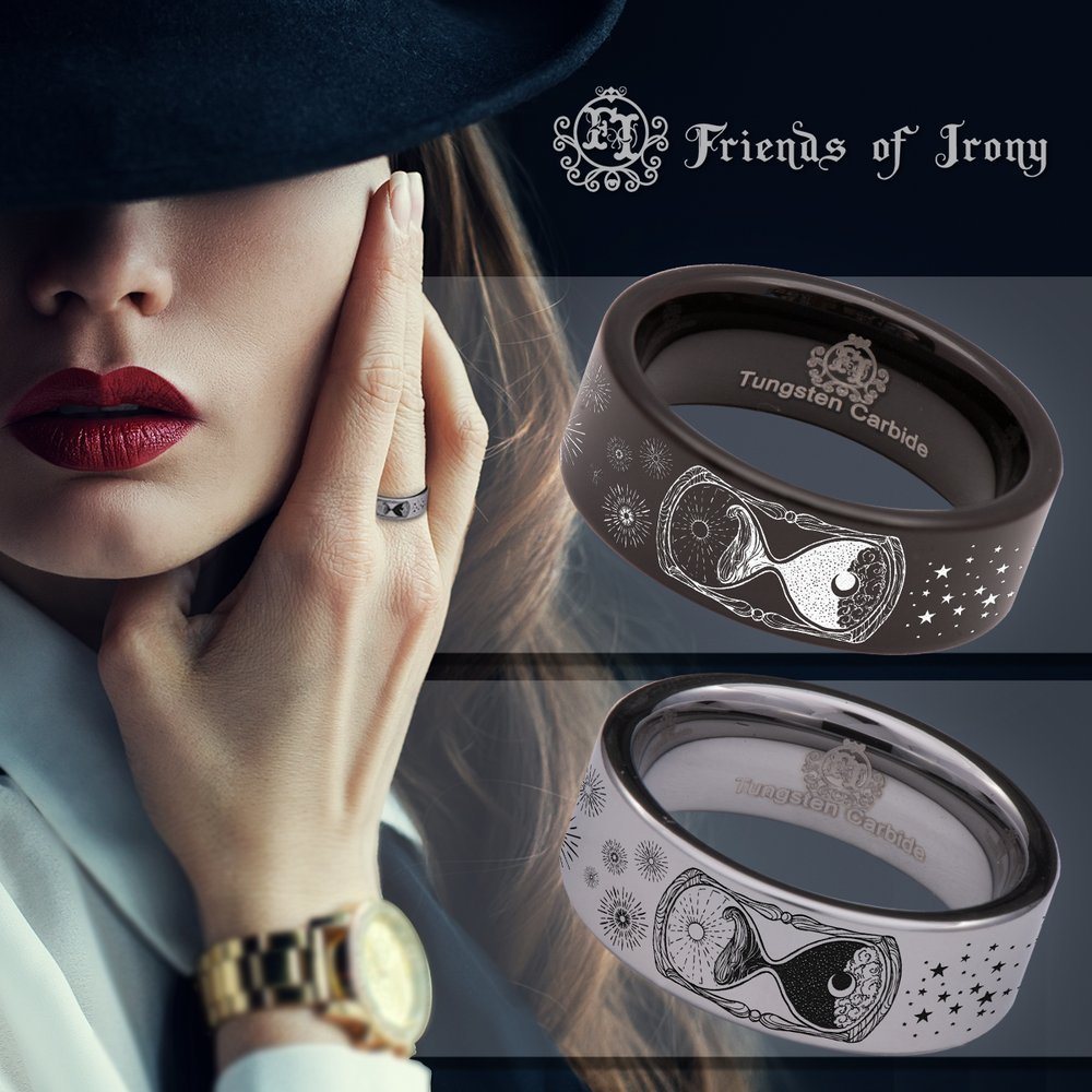 Wedding Band and Anniversary Ring Designed Fit for Men and Women Use Size 10 Friends of Irony Silver Tungsten Carbide Hourglass Ring 8mm