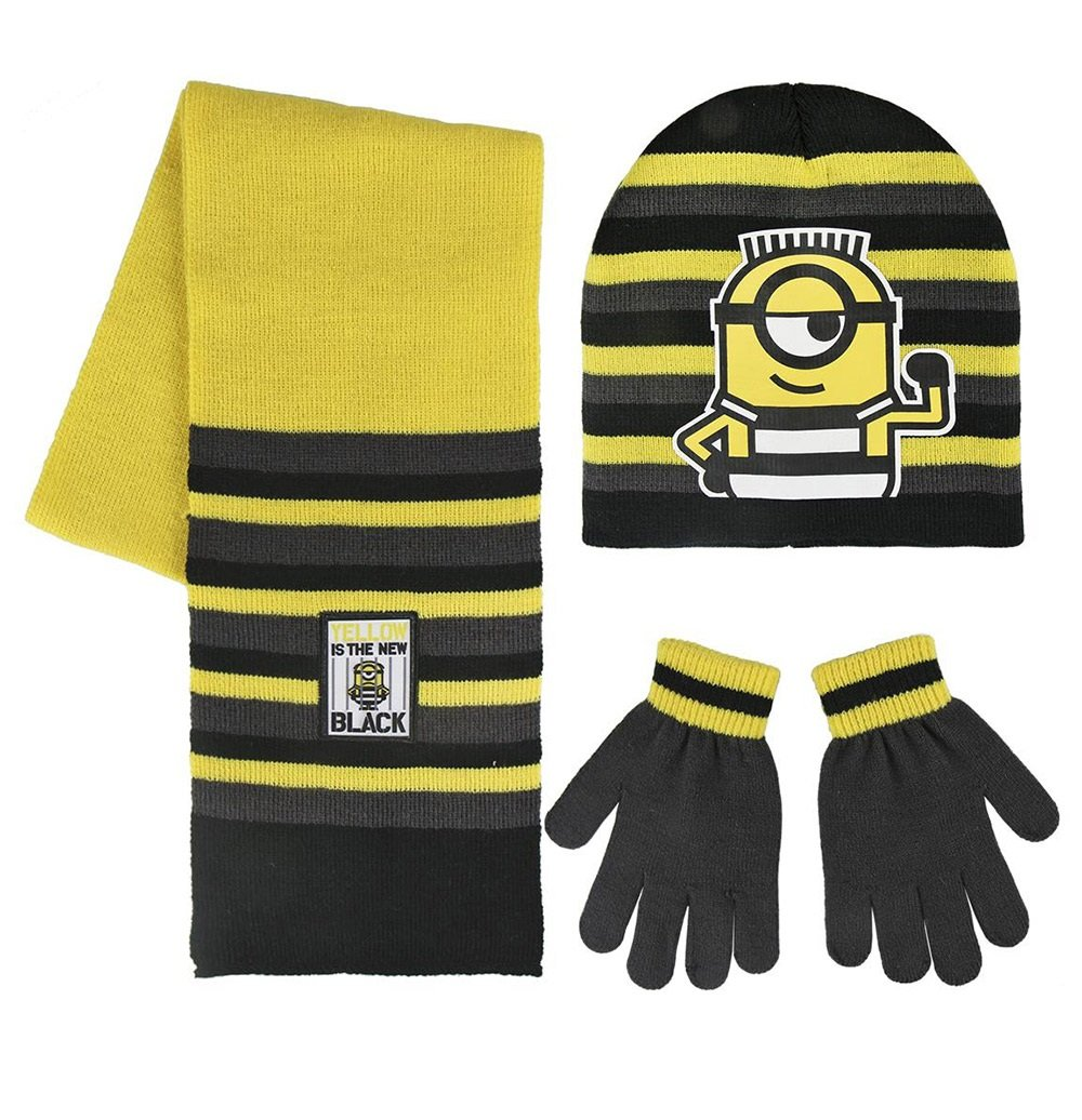 Cerdá Boy's Minions Scarf, Hat and Glove Set, Yellow (Amarillo 001), One (Manufacturer Size: única) 2200002552
